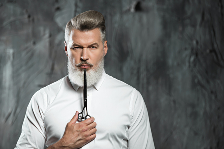 stylish men: Portrait of stylish professional hairdresser with beard. Man wearing shirt, looking at camera and holding scissors near his beard