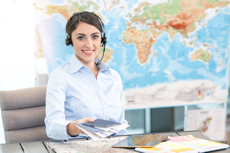 Young Woman Travel Agent Concept
