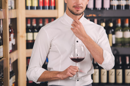 Somellier Wine Business Alcohol Drink Store Concept Stock Photo