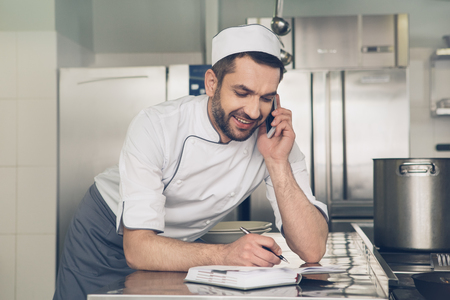 Man japanese restaurant chef working in the kitchen Stock Photo