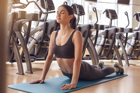 peacefull: Young woman workout in gym healthy lifestyle