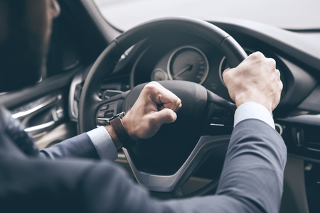 Young business man test drive new car Stock Photo
