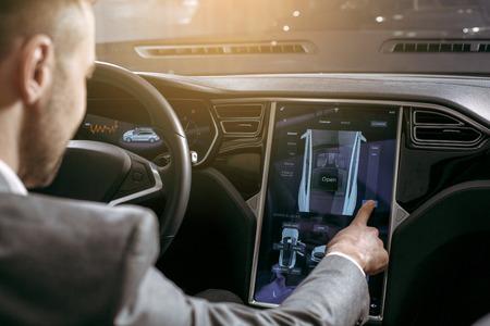 Man transportation by modern eco car control panel