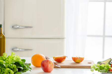 refrigerator: Fresh food meal preparation isolated on table