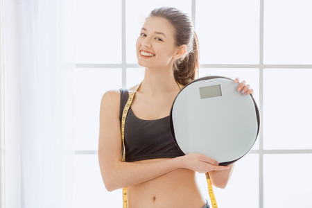 Young woman weight loss perfect body shape