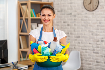 Concepto para servicios de limpieza del hogar Foto de archivo - 83009539