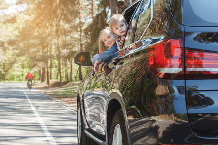 Travel by car family trip together vacation Stockfoto