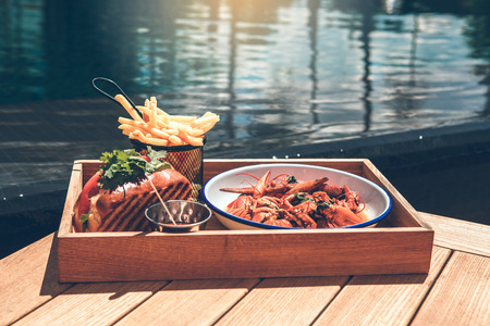 Food meal near the swimming pool no people Stock Photo