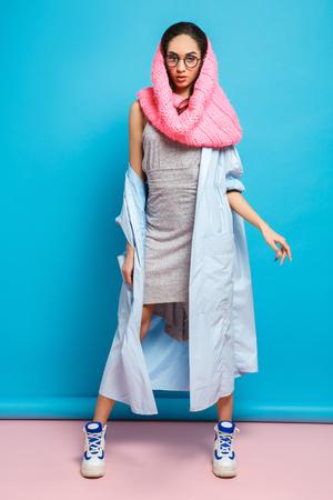 Young woman fashion lookbook model studio portrait