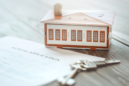 Real estate agency office objects isolated on table