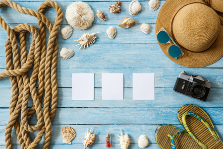 Travel tourism objects isolated top view vacation conecpt 版權商用圖片