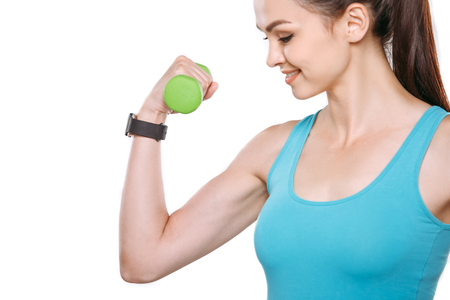 Young person healthy sport fitness smart watch holding dumbbell Standard-Bild
