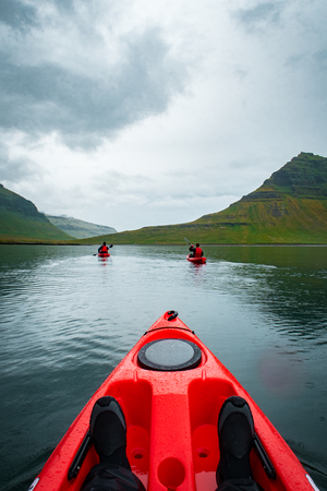 Extreme adventure sport, Iceland kayaking, paddling on kayak, ou