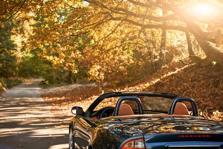 A black roofless car driving fast on the countryside asphalt road against morning sky with a beautiful sunrise. Autumn season, falling leaves Archivio Fotografico