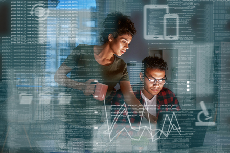 Young indian developer and his project manager discussing application code Stock Photo - 114005675