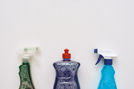 Cleaning tools. Spray bottles and cleanser isolated