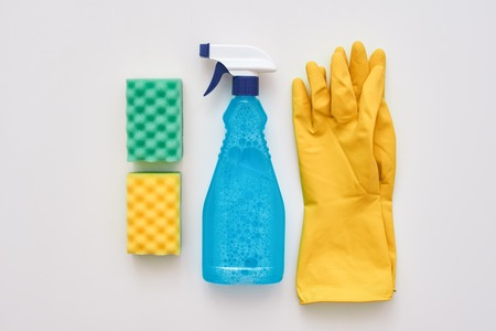 Good housekeeping. Spray bottle and other items isolated