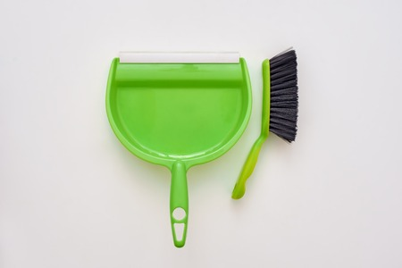 Floor cleaning tools. Brush and scoop isolated