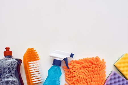 Cleaning tools. Spray bottle and other items isolated