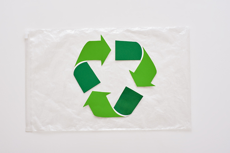 Save futute planet. Isolated recycle symbol on package