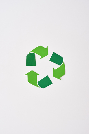 Think about future. Isolated recycle symbol at white background