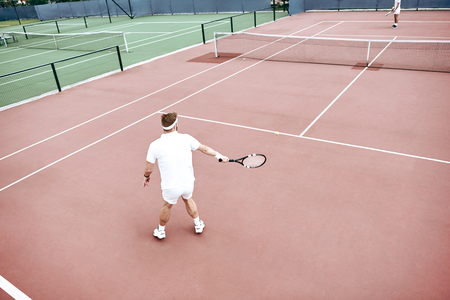 If you don't practice you don't deserve to win. The battle on the tennis court Zdjęcie Seryjne