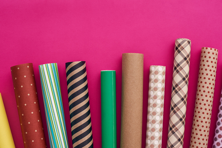 Gift Packaging. Choose your own colorful wrapping paper design. Stock Photo