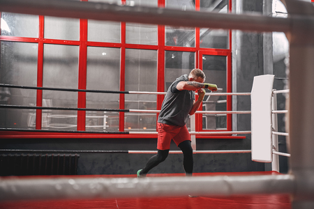 Hard work on boxing ring. Muscular tattooed boxer in sports clothing punching on red ring while exercising in the gym