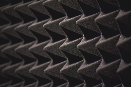 Very close view of soundproof coverage details in sound recording studio