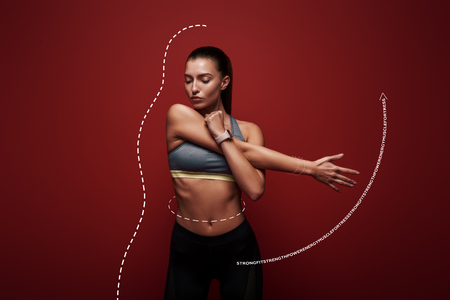 What about a good stretch Sportswoman standing over red background, stretching her arms. Graphic drawing.
