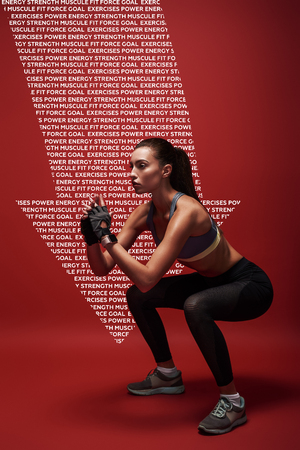 Sport is the way of her life. Sportswomanstanding over red background, stretching her body. Graphic drawing. Stock Photo