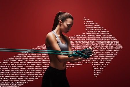 Dedication motivation success. Sportswoman performs exercises with resistance band over red background. Graphic drawing.