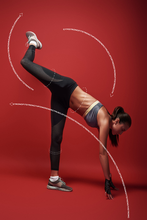 Good, better, best. Sportswoman standing over red background, stretching her body. Graphic drawing.