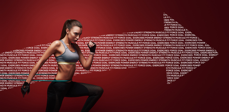 Non arrendersi mai. Sportiva esegue esercizi con banda di resistenza su sfondo rosso. Disegno grafico.