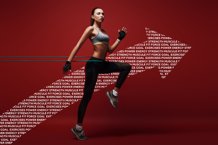 Full of energy. Sportswoman jumping with resistance band over red background, . Graphic drawing.