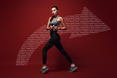Celebrating health. Sportswoman standing over red background with dumbbells in her hands. Graphic drawing.