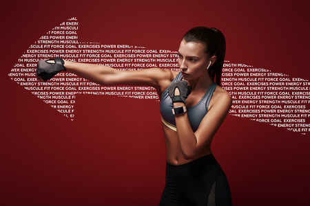 It never gets easier. You just get strong. Attractive sportswoman doing kickboxing exercises  over red background. Graphic drawing.