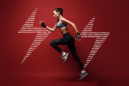Do your best. Sportswoman jumping over red background, . Graphic drawing.