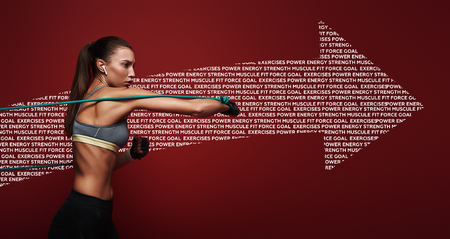 Everything is possible. Sportswoman performs exercises with resistance band over red background. Graphic drawing.