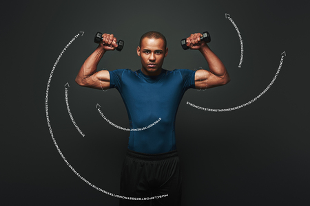 Stronger and faster. Dark skinned sportsman working out with dumbbells over dark background. Graphic drawing.