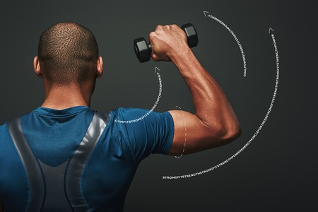 Improve your shape. Dark skinned sportsman working out with dumbbells over dark background. Graphic drawing.