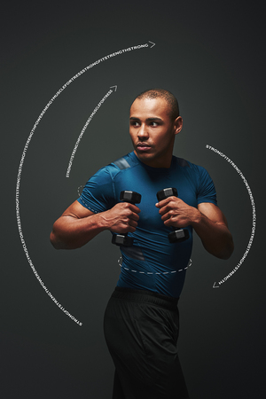 Training to become the best. Dark skinned sportsman standing with dumbbells over dark background, looking away. Graphic drawing.