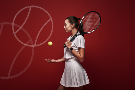 Talk with your raquet, play with your heart. Young tennis player standing over red background with a racket and a ball. Graphic drawing.