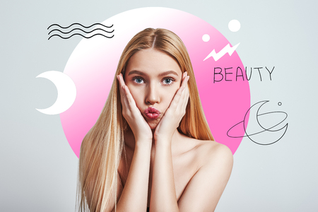 What should i do? Young woman with long blond hair looking at camera and making a face while standing against abstract pink circle and hand drawn illustrations. Face expressions. Beauty concept.