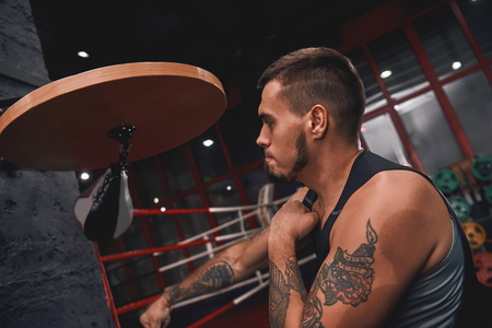 New champion. Close-up of muscular tattooed boxer in sports clothing hitting punching speed bag while training his boxing skills in boxing gym