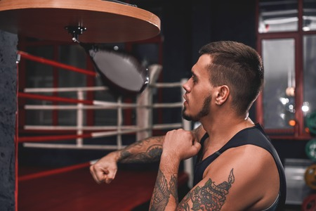 Ready to break his record. Close-up of muscular tattooed boxer in sports clothing hitting punching speed bag while exercising in boxing gym Stock Photo
