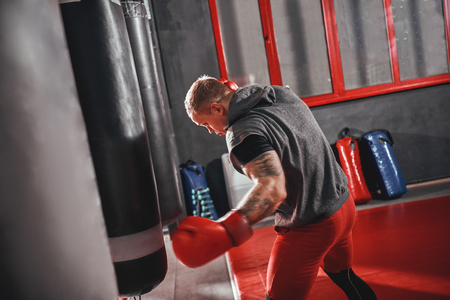 No pain no gain. Confident young boxer in red sports gloves training on heavy punch bag in boxing gym