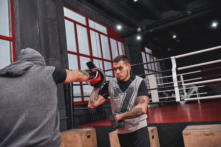 Training his boxing skills. Muscular athlete in red gloves training on boxing paws with partner in boxing gym