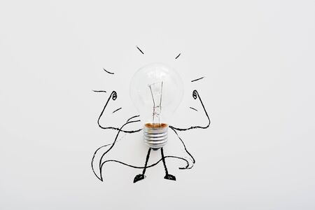 Creative concept of a new idea. Light bulb isolated on white background Stockfoto