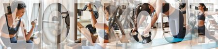 Beautiful sporty girl training at gym, doing exercises for arms with an overlay of the word WORKOUT. Working out with dumbbells. Panoramic banner header. Sport background